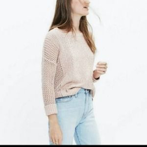 Madewell Marled Plaza Pullover Knit M Pink